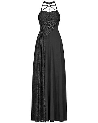 punk rave gothic dieselpunk maxi dress long black lace