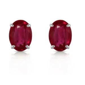 Natural-Red-Ruby-8x6-mm-Oval-stud-Earring-Sterling-Silver-White-Gold-over
