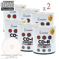 1200-pack Smartbuy Cd-r 52x 700mb/80min White Thermal Hub Printable Record Disc