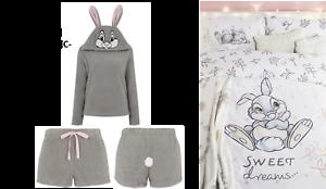 Disney Thumper Grey Hooded Pyjamas Sizes 8-22 OR MATCHING DOUBLE DUVET