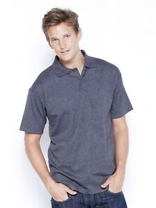 Heather-Charcoal-Men-039-s-Jersey-Polo-Shirt-100-Cotton