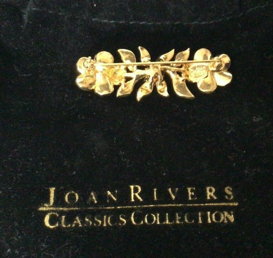 "1999 Joan Rivers Goldtone Enamel 2"" Pansy Flower … - image 2"