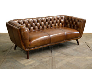 Details about Mid Century Sofa Light Brown Buffalo Top Grain Leather Button  Tufted Sofa J