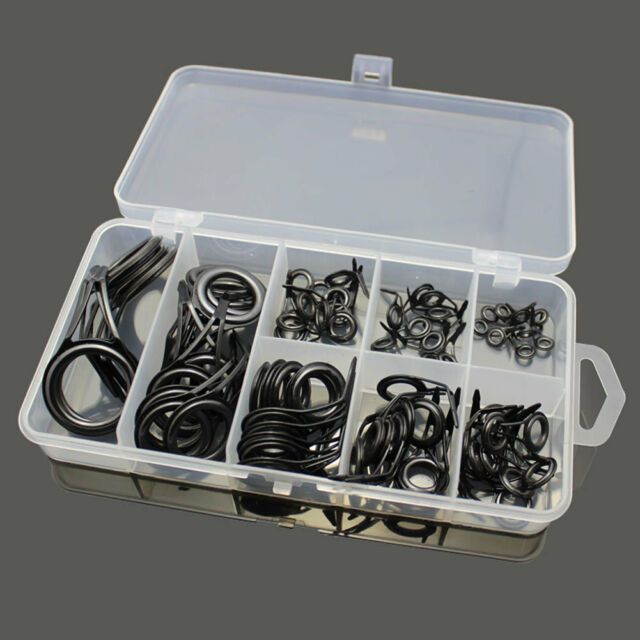 75PCS Stainless Steel Fishing Rod Building Guide Tip Repair Kit Eye Ring /w Box