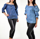Womens Ladies Off Shoulder Bardot Tie Sleeves Button Up Casual Denim Top Shirt
