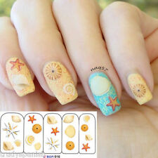 Nail Art Water Decals Stickers Summer Sea Shells Beach Holidays Gel Polish (016)