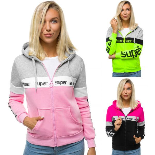 Kapuzenpullover Sweatjacke Sweatshirt Pullover Hoodie Kapuze Zip OZONEE 14 Damen