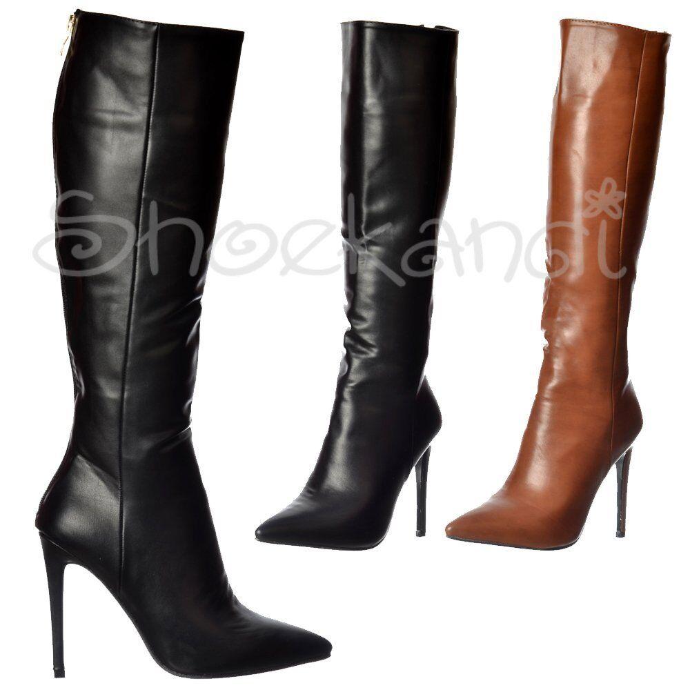 Mujer Stiletto Mid Heel Sexy botas Pointed Toe Knee High botas Sexy Negro Marrón Talla 3-8 6979d4