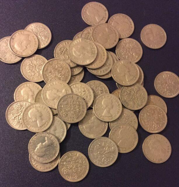 25 Sixpence Coins Wedding Tradition UK Great Britian English Six 6 Pence Bridal