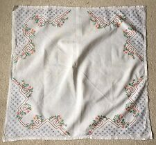 Vintage Retro Art Deco 1930s Square Table Linen Silk  Cloth Embroidered Floral