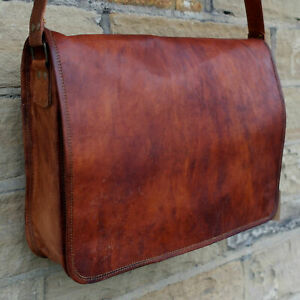 Men/'s Leather Bag Messenger Briefcase Dakota Laptop Shoulder Handbag Brown