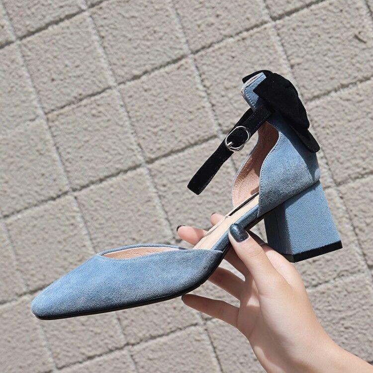 Sandalias de Mujer Bloque Hebilla De Nudo De Ante Punta Punta Punta rojoonda grueso sólido zapatos talla 35-39  Precio al por mayor y calidad confiable.