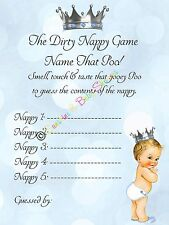 Dirty Nappy Baby Shower Game Name That Poo! Little Prince Theme INCLUDE Nappies!