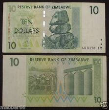 Africa Zimbabwe $10 Dollar Circulated Hyper Inflation Banknote,2007 AB SERIES