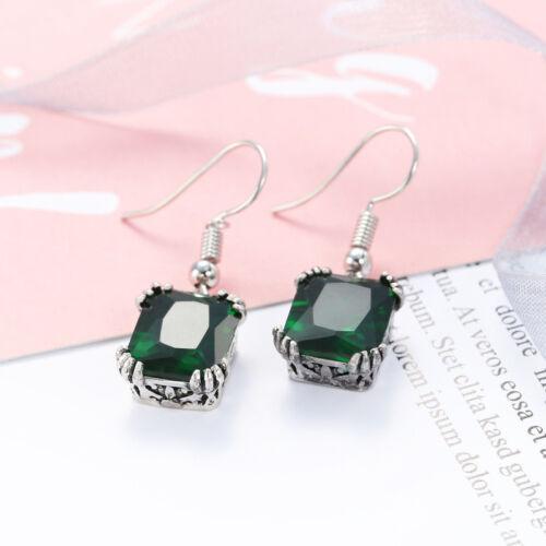 Druopean Design Femme Emerald Fire Topaz Gemstone Silver Dangle Crochet Boucles D/'oreilles