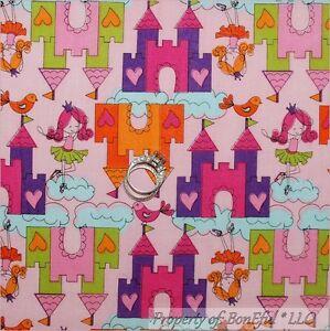 Details About Boneful Fabric Bty 2 Y Cotton Quilt Pink Heart Girl Castle Princess Ballet Bird