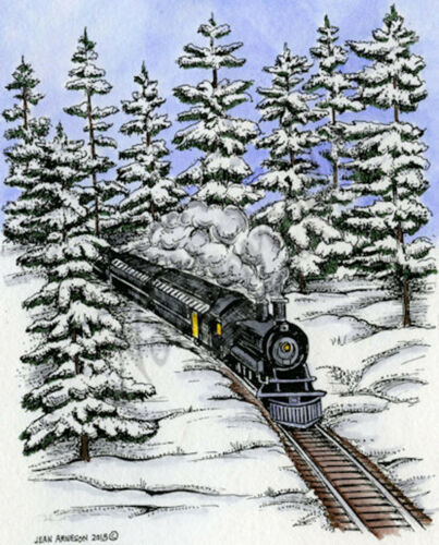 LARGE Train in Forest Locomotive Wood Mounted Rubber Stamp NORTHWOODS P9349
