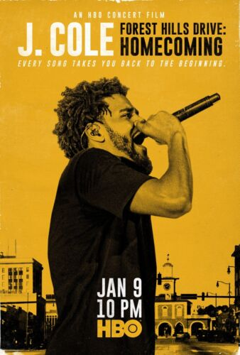 """J Cole Forest Hills Drive Homecoming Concert Film Poster Art Print 27×40/"""" 32×48/"""""""