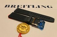 100% Genuine New OEM Breitling Blue Ribbed Diver Pro Tang Buckle Strap, 22-20mm.