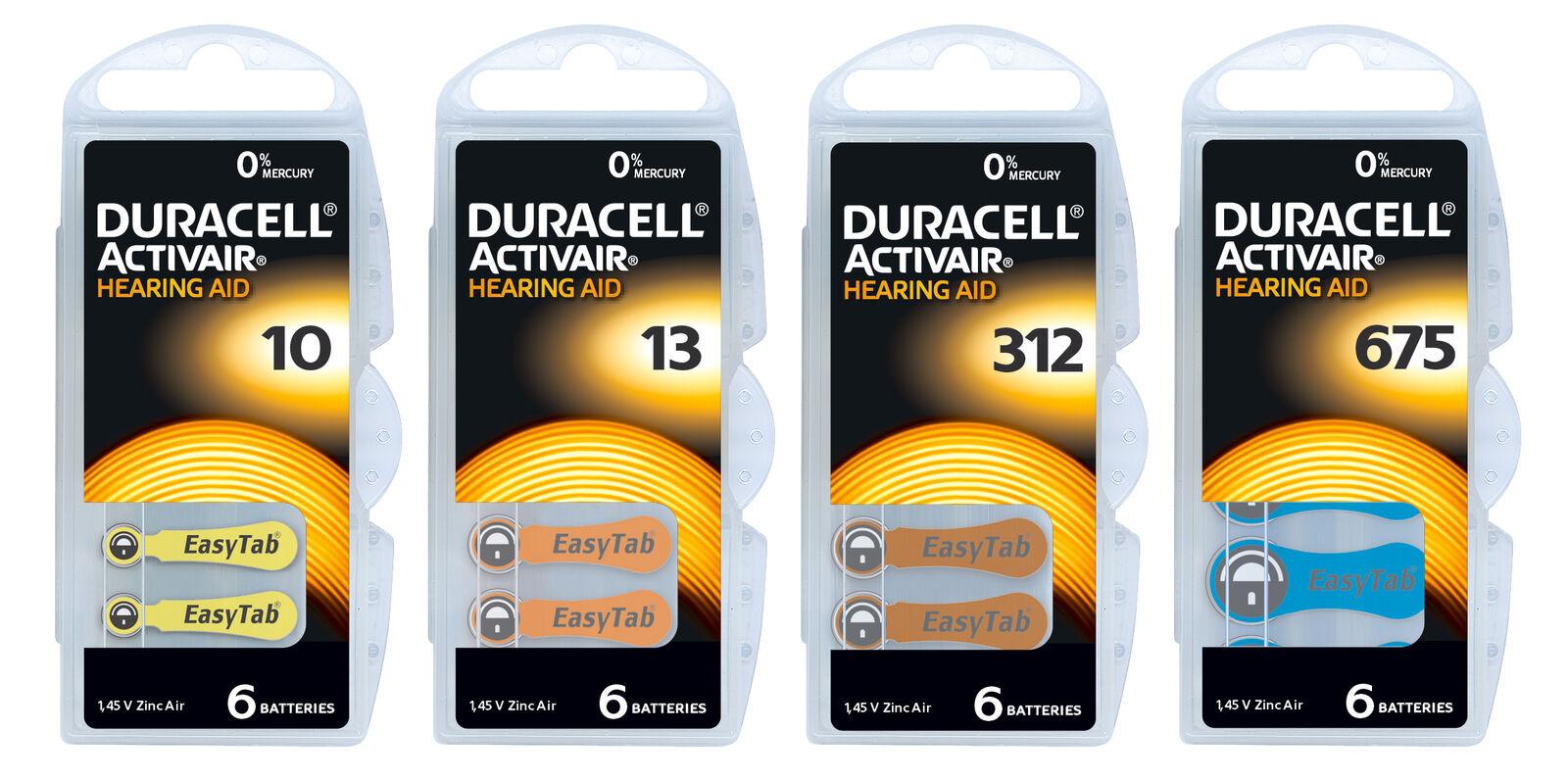 Duracell Hörgerätebatterien Knopfzelle  ZL 1, 2, 3, 4, - Typ 10, 13, 312, 675