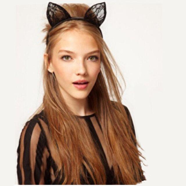 Katzen-Ohren Häschen-Ohren Damen Spitze Zubehör Stirnbänder Haarschmuck