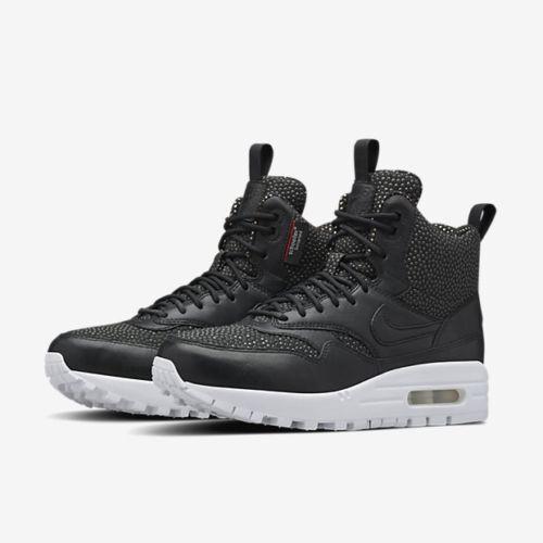 Women's Nike Air Max 1 Sneakerboot Tech Lab Black/White NIB 826601-001