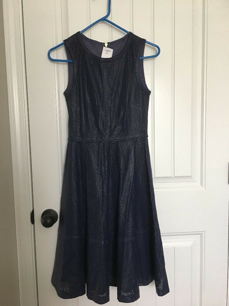 New J Crew Collection Perforated Leather Dress Navy bluee Sz 00 F0251