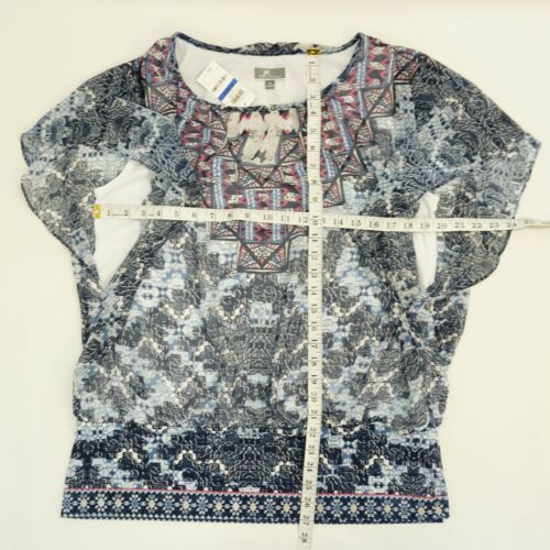 JM Collection Womens Top Banded Hem Flutter Sleeve Lined Blouse Blue Print $49