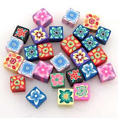 100pcs New Cube Flowers FIMO Polymer Clay Beads 6mm Fit Jewellery Crafts C