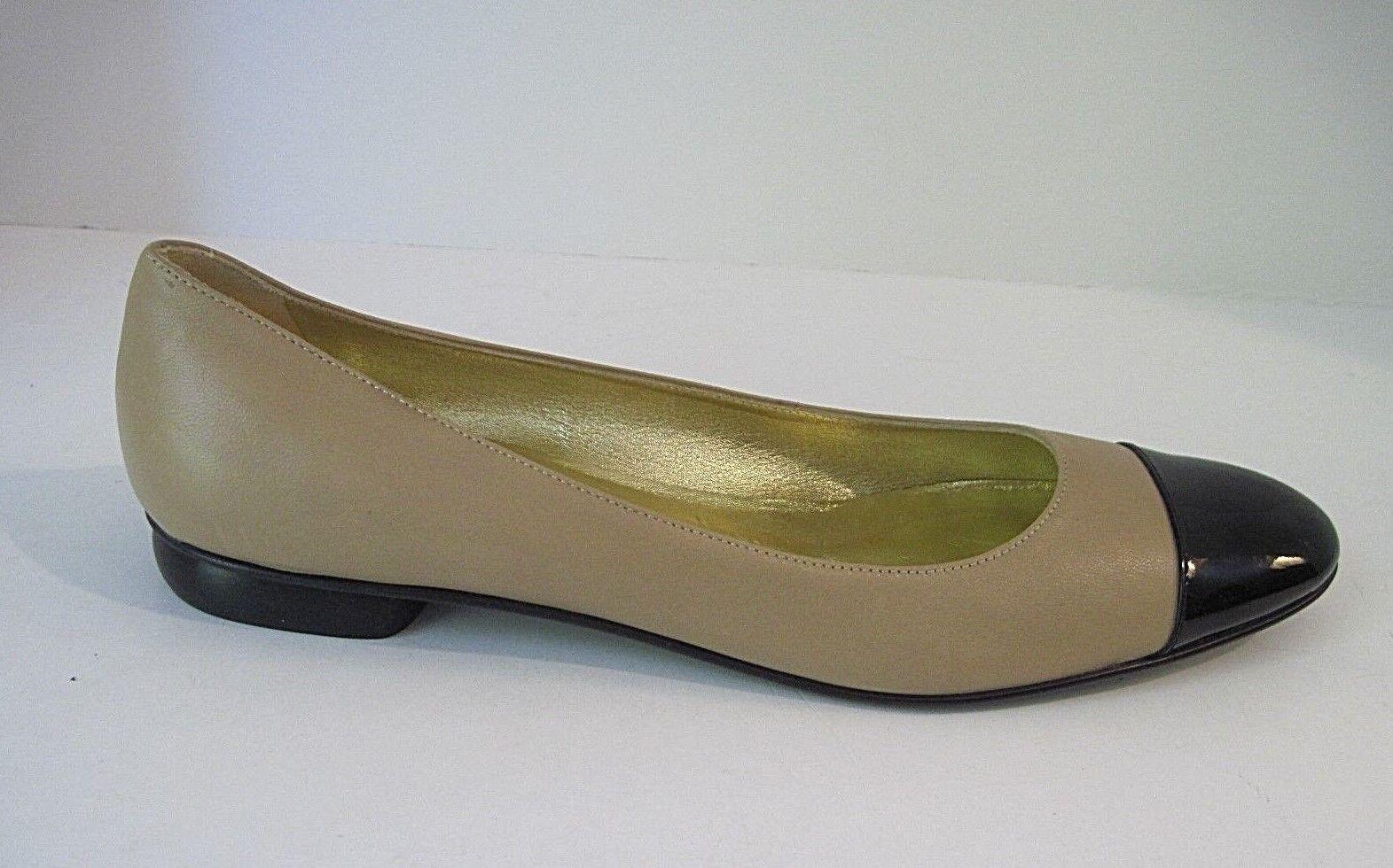 CALIGARIUS Bob Ellis Beige Leather Black Patent Leather Flats Size shoes 11 2A