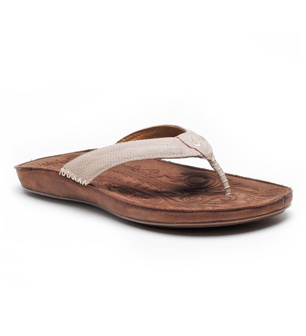 Olukai Haiku Elua Off White Dark Java Flip Flop Sandal Women's size 11 NEW