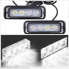 2x All-White 4LED 12V Car Dash Emergency Beacon Flashing Strobe Light Alert Lamp