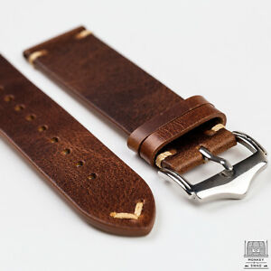 Camel-Light-Brown-Genuine-Leather-Vintage-Style-Watch-Strap-20mm-amp-22mm