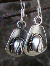 Tibetan Silver Cowboy hat on .925 Sterling Silver Ear Wires