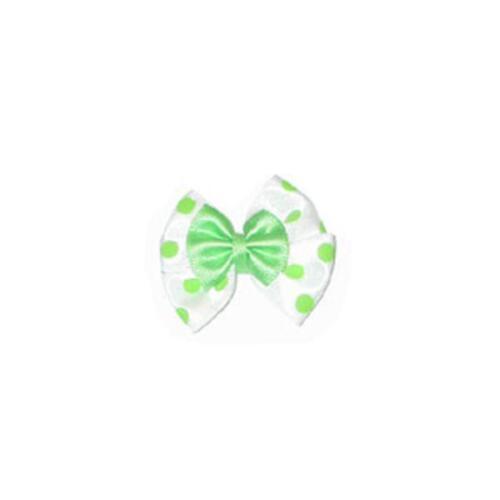 Polka Dot Satin Double Bows x 10