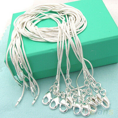 Wholesale Plain 10pcs Solid Silver Plated 1mm Snake Chain Necklace 16-24in B72U