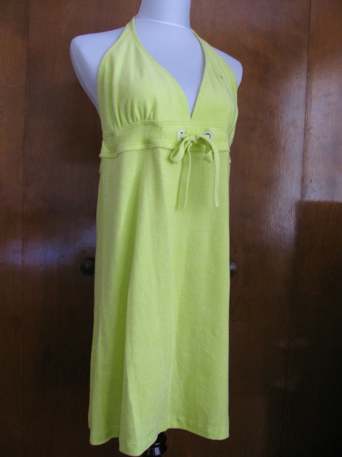 Lacoste damen lime Grün cotton halter dress US14 Euro46 NWT