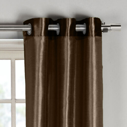 """76/"""" x 84/"""" Chocolate Window Curtain Panels: Faux Silk Two Silver Grommets 2"""