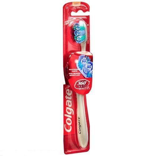 Colgate 360 Optic White Full Head Toothbrush Soft w Tongue & Check Cleaner