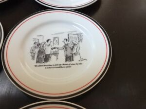 White w/Black & The New Yorker Cartoon Cheese Snack Dessert Plates Set Of 6 Wine ...
