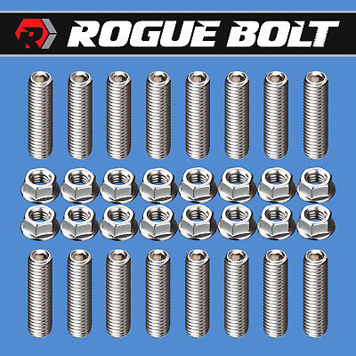 SBF HEADER BOLTS STAINLESS SET KIT FORD 260 289 302 351W 351C 5.0L HARDENED
