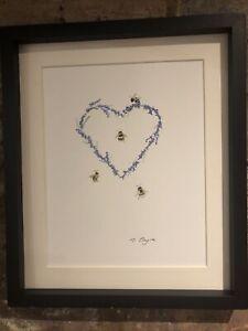 Bumble-Bees-Lavender-Heart-Original-Watercolour-Painting-Original-Art-Gift