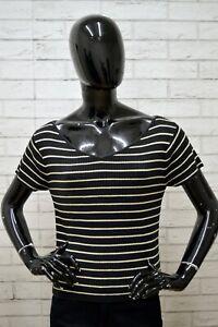 Maglia-TOMMY-HILFIGER-Donna-Taglia-L-Maglietta-Shirt-Cotone-A-Righe-Polo-Nera