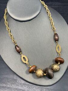 """Vintage Bohemian Gold Tone Flat Wood Beaded Boho Statement Necklace 16"""""""