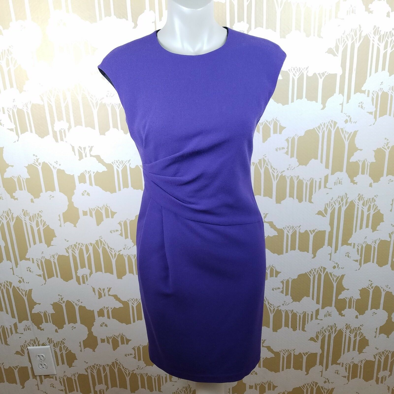 Lafayette 148 New York Größe 0 lila Lined Wool Wiggle Dress Career Pin-up EUC