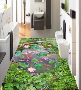 3D Koi Lotus Pond 856  Floor WallPaper Murals Wall Print Decal AJ WALLPAPER US