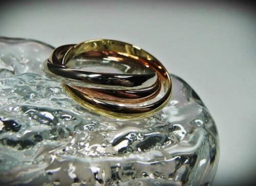 NEU 17mm//55 TRIPLE RING farben gold//silber//rotgold DREIER DAMENRING Tricolor