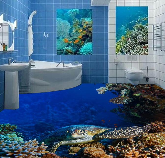 3D Big Turtle Sea 5 Floor WallPaper Murals Wall Print Decal AJ WALLPAPER Summer
