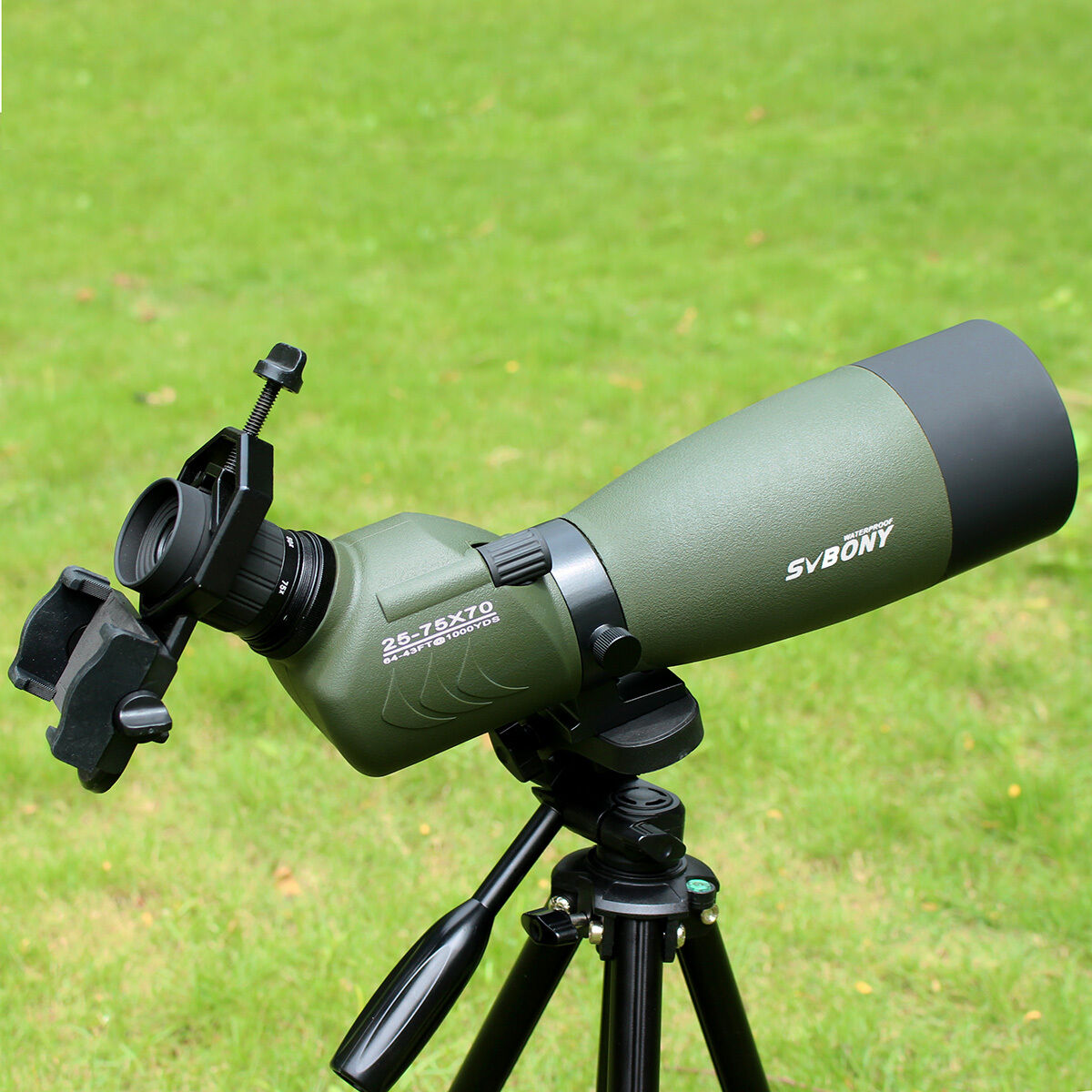 SVBONY FMC 25-75x70mm &Cell Angled Zoom Spotting Scope w/ Tripod &Cell 25-75x70mm Phone Adapter d402fb