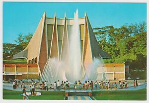SINGAPORE-National-Theatre-and-Water-Fountain-postcard-sun-bear-stamp-PC17